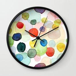 Watercolor drops multicolor Wall Clock