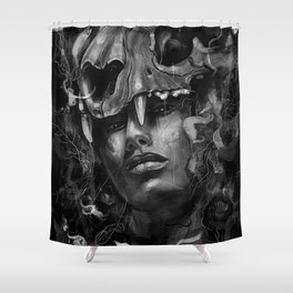 Empress Lion Skull Shower Curtain