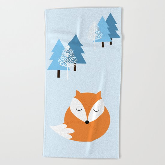Sweet dreams with fox Beach Towel