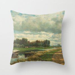 Landscape in the Environs of The Hague - Willem Roelofs (I) (1870-1875) Throw Pillow