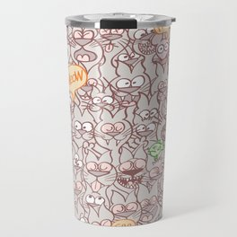 Seamless pattern world crowded with funny cats Travel Mug