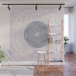 Mandala Pattern in Pastel Pink and Lilac Wall Mural