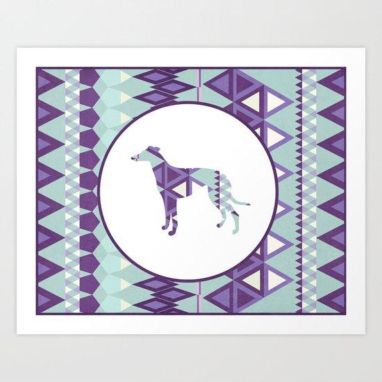 Greyhound Geometri Art Print