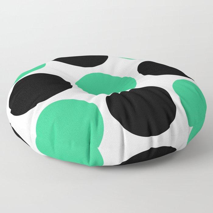 Mid Century Modern Polka Dot Pattern 9 Black and Green Floor Pillow