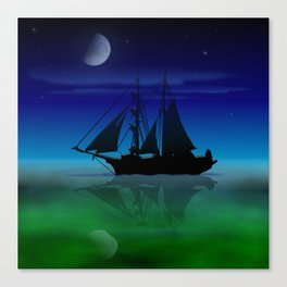 Sailing On A Sea of Green. Canvas Print