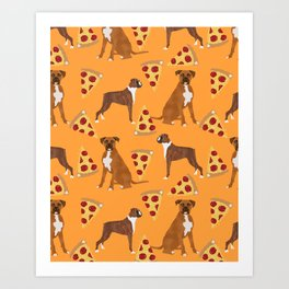 Boxer pizza party cute junk food cheese dog art pet portrait boxer dog breed must have gifts for dog Art Print