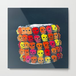 colorful  skulls ceramic vase Metal Print