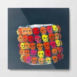 colorful  skulls ceramic vase Metal Print