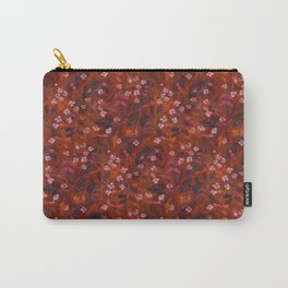 Apple Blossom, Floral Pattern, Faux Texture Wool Painting, Autumn Colors Carry-All Pouch