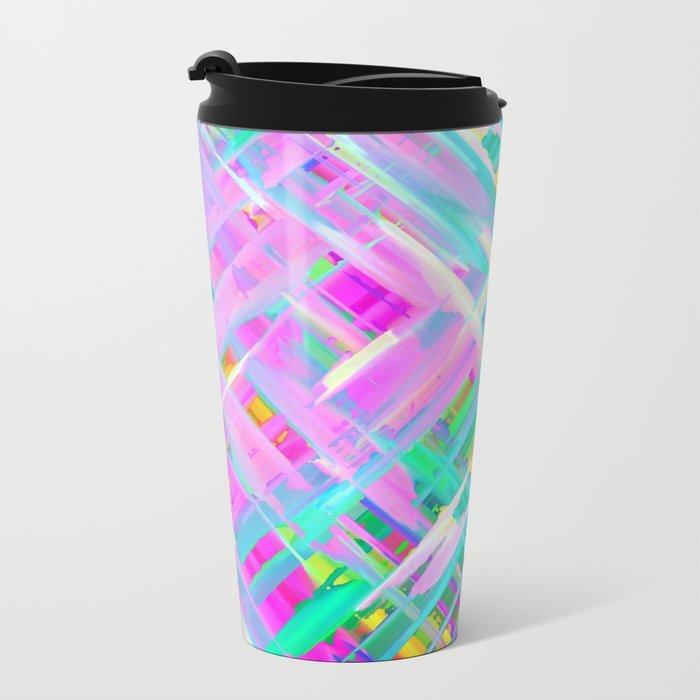Colorful digital art splashing G473 Metal Travel Mug