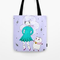 puppycat Tote Bags featuring Bee and Puppycat  by Alxndra Cook