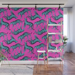 Tigers (Magenta and Blue) Wall Mural