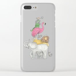 A Stack Of Animals with elephant, lion, flamingo, monkeys and snake Clear iPhone Case