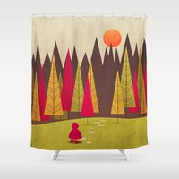 red riding hood Shower Curtains featuring Little Red Riding Hood by Annisa Tiara Utami