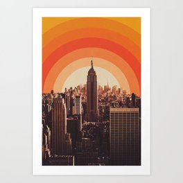 New York's Famous Sunset - Retro City Art Print
