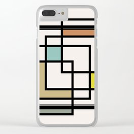 Mid Century Modern Squares Clear iPhone Case