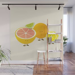 Four citrus cartoon characters Wall Mural