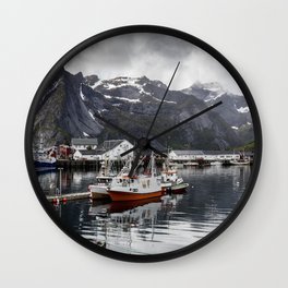 Lofoten Islands, Norway Mountain Landscape Wall Clock