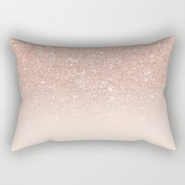 Rose gold faux glitter pink ombre color block Rectangular Pillow