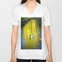 ducks V-neck T-shirts featuring ducks by  Agostino Lo Coco