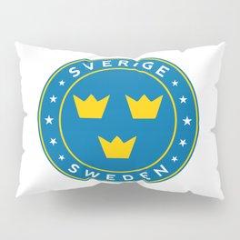 Sweden, Sverige, 3 crowns, circle Pillow Sham