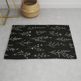 New Black Wildflowers Rug