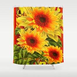 GOLDEN YELLOW KANSAS SUNFLOWERS RED ART Shower Curtain