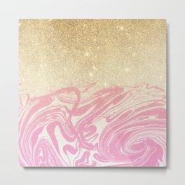 Pink white faux gold glitter modern marble Metal Print