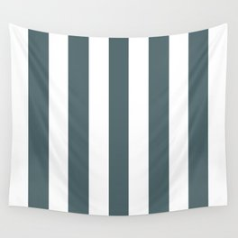 Stormcloud grey - solid color - white vertical lines pattern Wall Tapestry