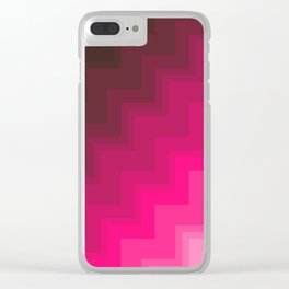 Pink Gradient Chevrons Clear iPhone Case
