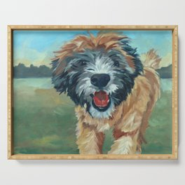 Wheaton Terrier Dog Portrait Serving Tray