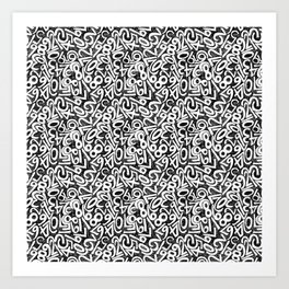 Numbers pattern in black and white Art Print