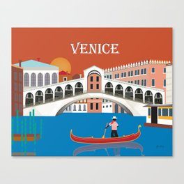 Venice, Italy - Skyline Illustration by Loose Petals Canvas Print