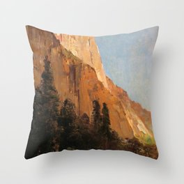 Sentinel Rock Yosemite 1880 By Thomas Hill | Reproduction Throw Pillow