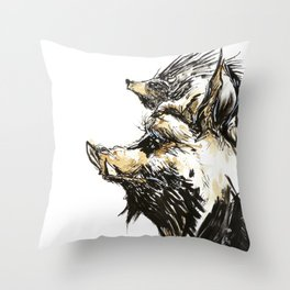 Punk Hogs Throw Pillow