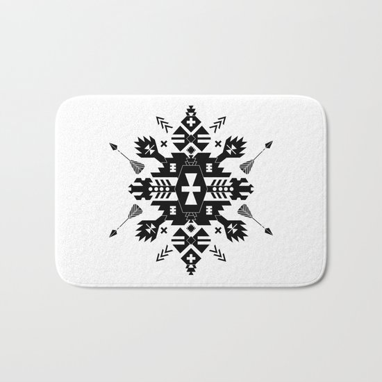 Tribal Black and White Bath Mat
