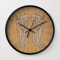 daryl Wall Clocks featuring Daryl Wings by Michelle Bowden Art