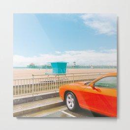 Car on the beach - v26 Metal Print