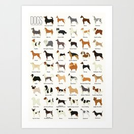 Dog Breeds Art Print