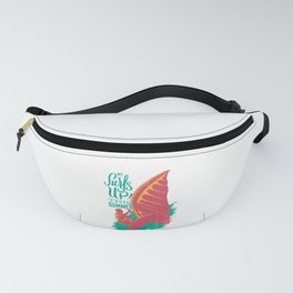 The Surfs up this summer art vintage wave Beach Fanny Pack