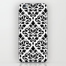 Scroll Damask Large Pattern Black on White iPhone Skin