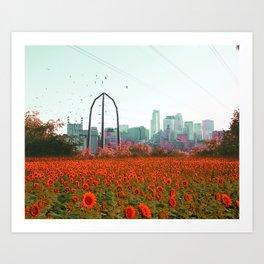 Minneapolis Minnesota Skyline and Flowers Art Print