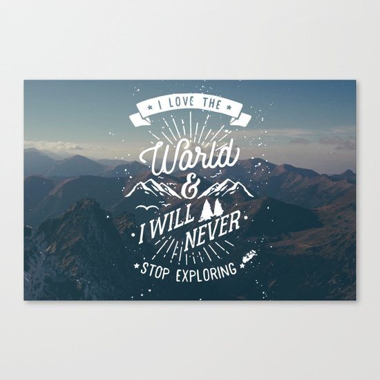 Inspirational Quote and Blue Mountains II Canvas Print