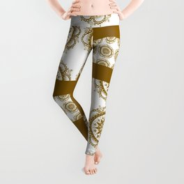 Amber and White Floral Mandala Patch-Work Textile Leggings
