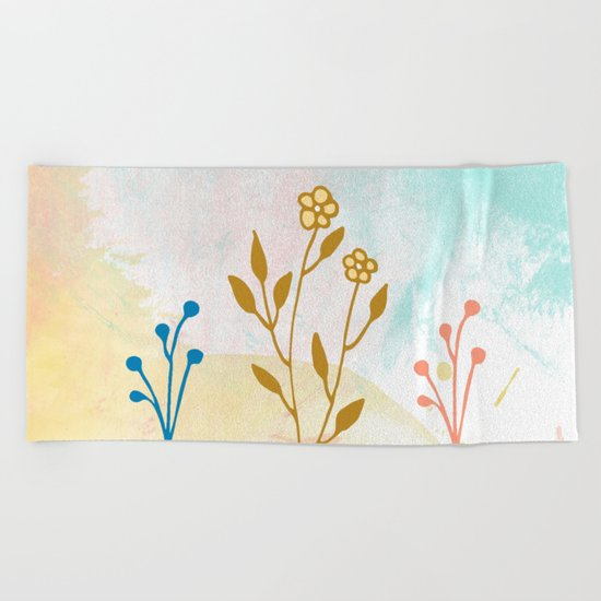 Acuarela flower Beach Towel