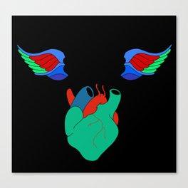 Skull Birds With Heart Canvas Print
