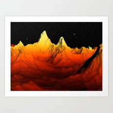 Sci Fi Mountains Landscape Art Print