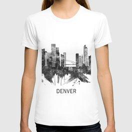Denver Colorado Skyline BW T-shirt