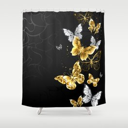 Gold and White Butterflies Shower Curtain