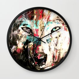 Silverwolf, wolf, painting, wolfpack. Wall Clock